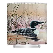 Loon Sunset Shower Curtain by James Williamson