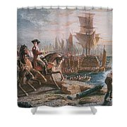 Lord Howe Organizes The British Evacuation Of Boston In March 1776 Shower Curtain by English School