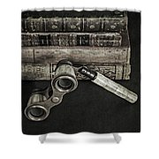 Lorgnette With Books Shower Curtain