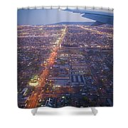Los Angeles Aerial Overview On Approach To Lax At Night  Shower Curtain