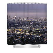 Los Angeles At Night From The Griffith Park Observatory Shower Curtain