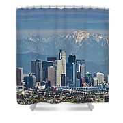 Los Angeles Skyline Mt Baldy Snowcap Shower Curtain