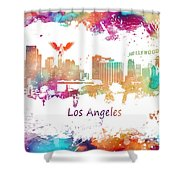 Los Angeles California Skyline Colored Shower Curtain