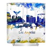 Los Angeles California Skyline Yellow Blue Shower Curtain