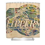 Los Angeles Clippers Poster Art Shower Curtain