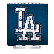 Los Angeles Dodgers Baseball Vintage Logo License Plate Art Shower Curtain by Design Turnpike