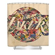Los Angeles Lakers Poster Art Shower Curtain