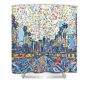 Los Angeles Skyline Abstract 3 Shower Curtain