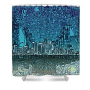 Los Angeles Skyline Abstract 5 Shower Curtain