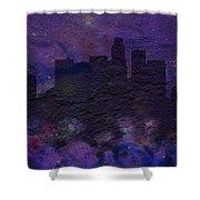 Los Angeles Skyline Brick Wall Mural Shower Curtain
