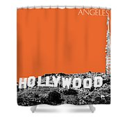 Los Angeles Skyline Hollywood - Coral Shower Curtain