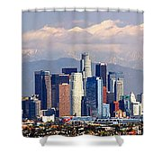 Los Angeles Skyline With Mountains In Background Shower Curtain