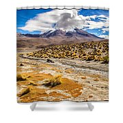 Lost In The Bolivian Desert Framed Shower Curtain