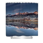 Lost River Mountains Winter Reflection Shower Curtain