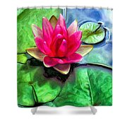 Lotus Blossom And Cloud Reflection Shower Curtain