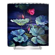 Lotus On Dark Water Shower Curtain