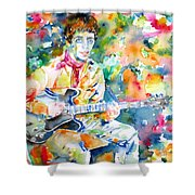 Lou Reed Playing The Guitar - Watercolor Portrait Shower Curtain