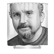 Louis Ck Portrait Shower Curtain by Olga Shvartsur