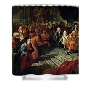 Louis Xiv 1638-1715 Receiving The Persian Ambassador Mohammed Reza Beg In The Galerie Des Glaces Shower Curtain