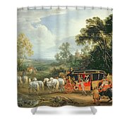 Louis Xiv In His State Coach Shower Curtain