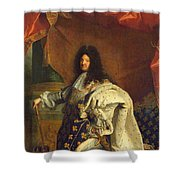 Louis Xiv In Royal Costume, 1701 Oil On Canvas Detail Of 59867 Shower Curtain