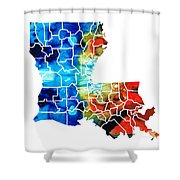 Louisiana Map - State Maps By Sharon Cummings Shower Curtain