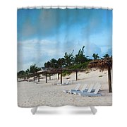 Lounge Chairs And Parasol On Pink Sands Shower Curtain