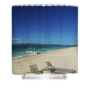 Lounge Chairs And Traditional Boat On Puka Beach In Boracay Phil Shower Curtain