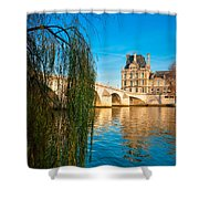 Louvre Museum And Pont Royal - Paris - France Shower Curtain