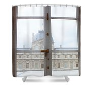 Louvre Museum Viewed Through A Window Shower Curtain