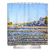 Love Across The Seine Shower Curtain
