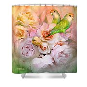 Love Among The Roses Shower Curtain