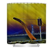 Love At Cupid's Span San Francisco Bay Bridge Shower Curtain