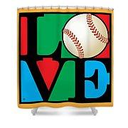 Love Baseball Shower Curtain