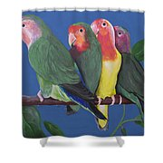 Love Birds Shower Curtain by Kathy Weidner
