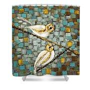 Love Birds- Warm Tone Shower Curtain