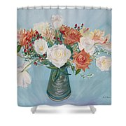 Love Bouquet In White And Orange Shower Curtain