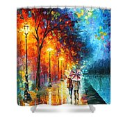 Love By The Lake - Palette Knife Oil Painting On Canvas By Leonid Afremov Shower Curtain