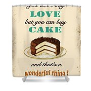 Love Cake Typography Shower Curtain