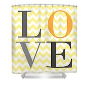 Love Chevron Yellow Shower Curtain