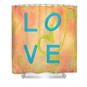 Love In Bright Blue Shower Curtain