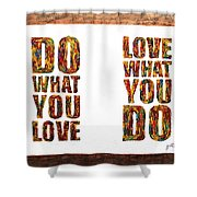 Love In Life Acrylic Palette Knife Painting Shower Curtain