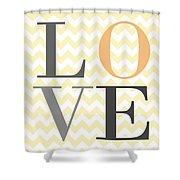 Love On Chevron Peach Shower Curtain
