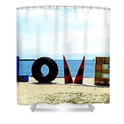 Love On The Beach Found Art Outer Banks Shower Curtain