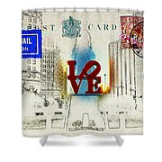 Love Park Post Card Shower Curtain