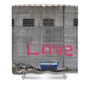Love - Pink Painting On Grey Wall Shower Curtain