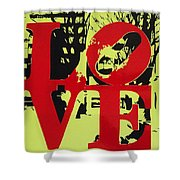 Love - Red On Lime Shower Curtain