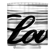 Love Sign With Black And White Stripes Shower Curtain