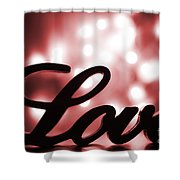 Love Sign With Red Sparkle Shower Curtain