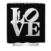 Love Typography And Kissing Couple Shower Curtain